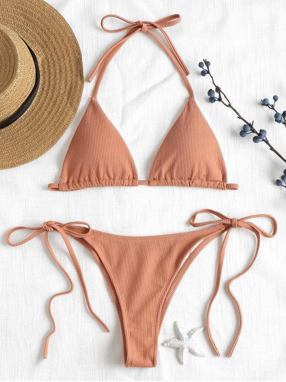 online Ribbed String Bikini Set - DESERT SAND S