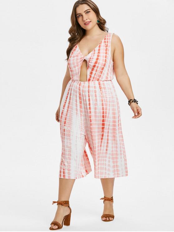 affordable Plus Size Tie Dye Backless Twist Jumpsuit - WATERMELON PINK 3X