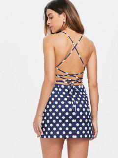 Lace Up Polka Dot Slip Dress - Cadetblue L