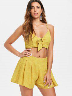 Dots Tie Front Top And Shorts Set - Bright Yellow L