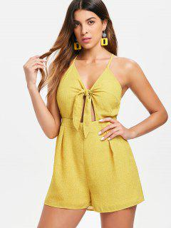Tie Front Criss Cross Romper - Bright Yellow S