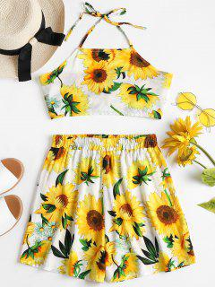 Sunflower Top Shorts Two Piece Matching Set - Multi L