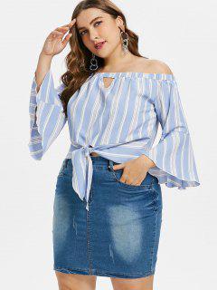 Plus Size Stripe Bell Sleeve Blouse - Light Blue 2x