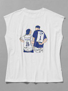 Atrás Impreso Camiseta Sin Mangas Con Borde Sin Terminar - Blanco Xl
