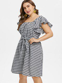 Plus Size Gingham Belted Dress - Black 2x