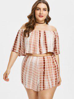 Plus Size Tie Dye Top With Shorts - Orange Salmon 1x