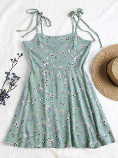 Smocked Knotted Floral Slip Dress - Cyan Opaque M