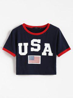 American Flag Patriotic Crop Ringer Tee - Deep Blue L