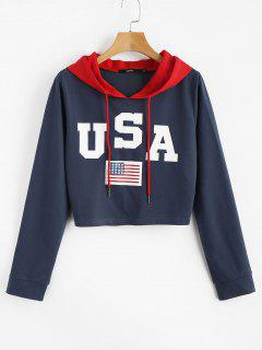 American Flag Patriotic Graphic Crop Hoodie - Blue Jay L