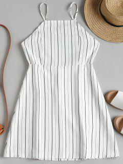 Drawstring Striped Open Back Mini Dress - White L