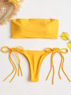 Side Tie Tube Bikini - Golden Brown M