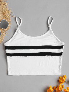 Striped Cami Crop Top - White L