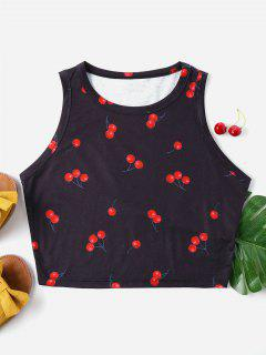 Cherry Print Crop Tank Top - Black L