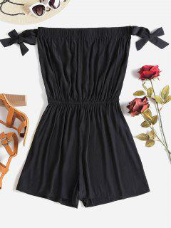 Knotted Off Shoulder Romper - Black M