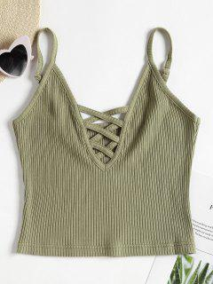 Lattice Ribbed Tank Top - Camouflage Green M
