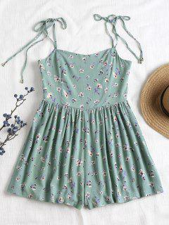 Tied Straps Smocked Cami Romper - Cyan Opaque S