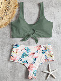 Knotted Floral Scrunch Butt Bikini Set - Camouflage Green M