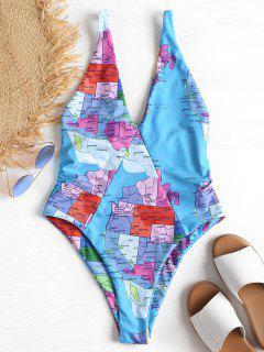 High Cut Map Pattern Swimsuit - Multi L