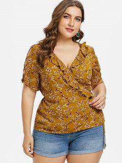 Plus Size Floral Surplice Ruffle Top - Light Brown L