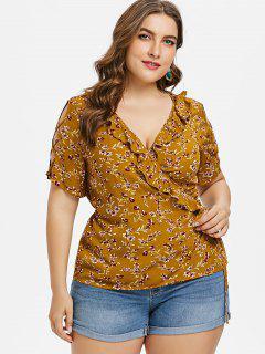 Plus Size Floral Surplice Ruffle Top - Light Brown 3x