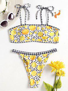 Zitrone Punkt Riemchen Schulter Bikini - Multi S