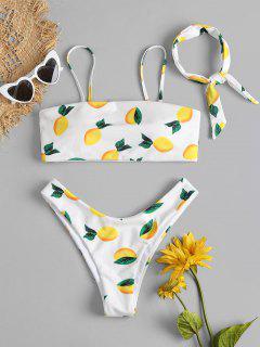 Lemon Print Bikini Set - White M