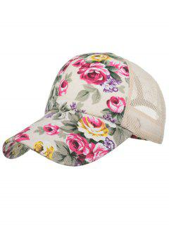 Vintage Flourishing Flowers Mesh Sunscreen Hat - Beige