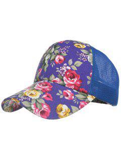 Casquette De Soleil En Maille Décorée De Fleurs Style Vintage  - Bleu Royal