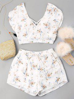 Floral Print Knotted Shorts Set - Milk White L