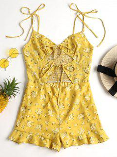 Cut Out Tie Up Floral Romper - Corn Yellow L