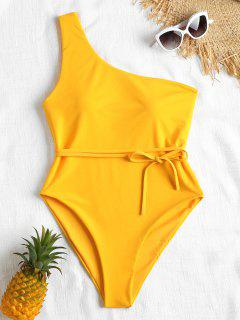Belted One Shoulder One Piece Swimsuit - Bright Yellow S