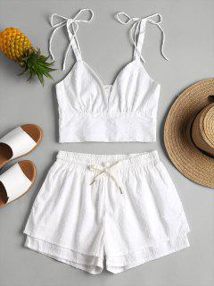Bralette Top And Layered Shorts Two Piece Set - White S