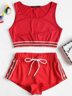 Striped Band Crop Top Shorts Two Piece Set - Love Red M