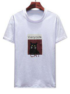 Round Neck Cat Print T-shirt - White Xl