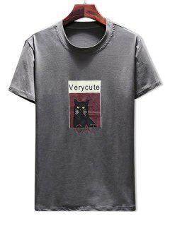 T-shirt Imprimé De Chat à Col Rond - Gris Foncé Xl