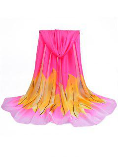 Fresh Leaves Printed Silky Long Scarf - Rose Red