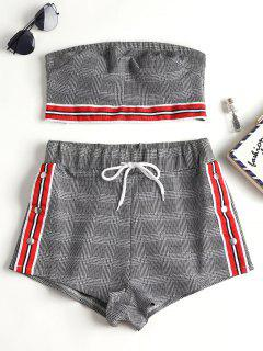 Houndstooth Checked Tube Top Shorts Set - Multi L