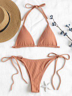 Ribbed String Bikini Set - Desert Sand S