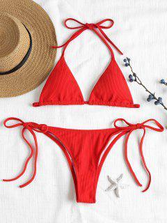 Ribbed String Bikini Set - Love Red S
