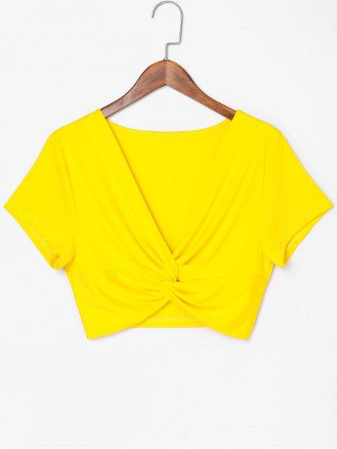 Camiseta con cuello redondo Twist - Amarillo de Sol  XL Mobile