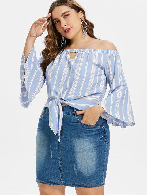 Blusa con manga de campana a rayas de gran tamaño - Azul Claro 4X Mobile