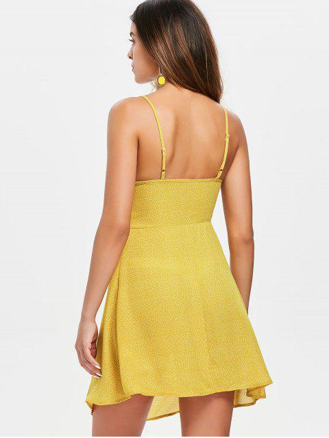 women's Tie Front Dotted Cami Dress - BRIGHT YELLOW L Mobile