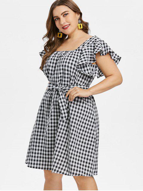 fashion Plus Size Gingham Belted Dress - BLACK L Mobile