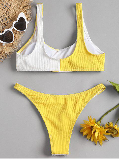 fancy Two Tone High Cut Bikini - YELLOW L Mobile