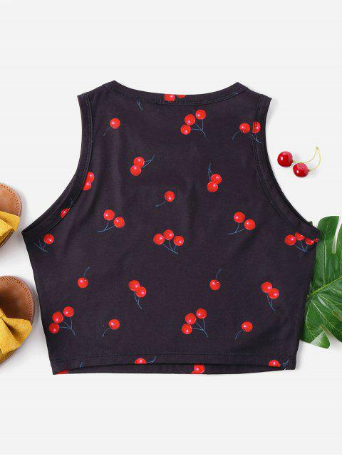 new Cherry Print Crop Tank Top - BLACK XL Mobile