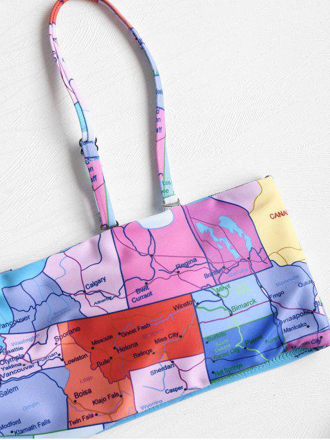 chic Map Print String Bikini - MULTI L Mobile