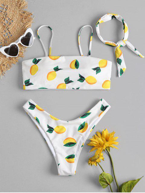 ladies Lemon Print Bikini Set - WHITE L Mobile