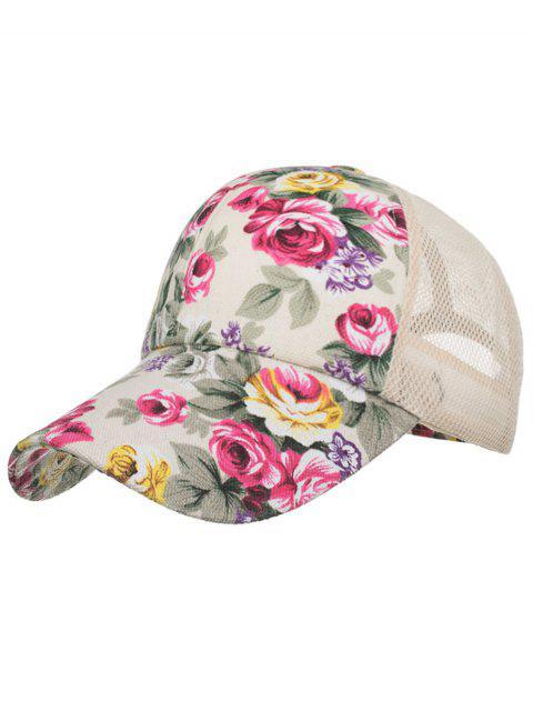 Sombrero protector solar de malla de flores floreciente vintage - Beige  Mobile