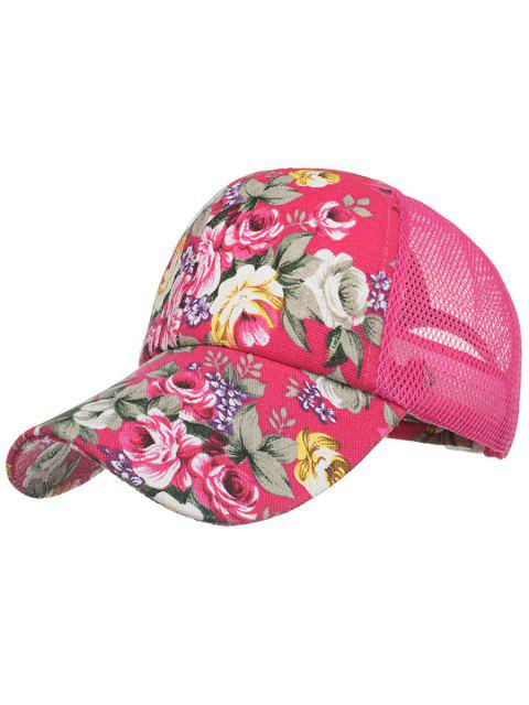 latest Vintage Flourishing Flowers Mesh Sunscreen Hat - ROSE RED  Mobile
