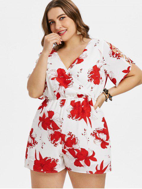 lady Flower Print Plus Size Surplice Romper - WHITE L Mobile